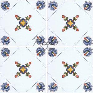 Hand Painted Tile 4-Tile Pattern - Style HP-553 from Mizner Tile Studio