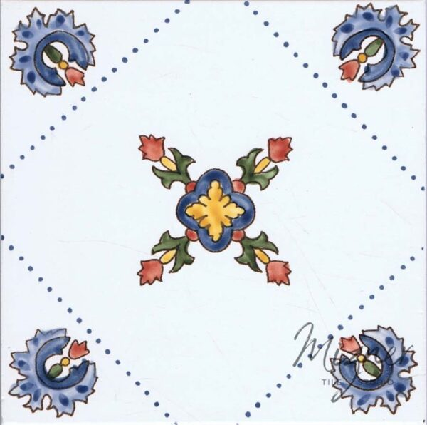 Hand Painted Tile 1-Single Tile - Style HP-553 from Mizner Tile Studio