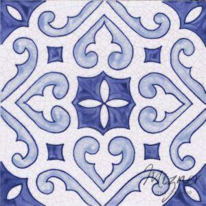 Hand Painted Tile 1-Single Tile - Style HP-554 from Mizner Tile Studio