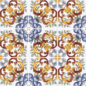 Hand Painted Tile 4-Tile Pattern - Style HP-557 from Mizner Tile Studio