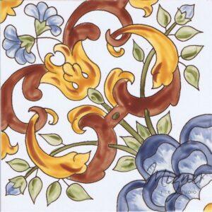 Hand Painted Tile 1-Single Tile - Style HP-557 from Mizner Tile Studio
