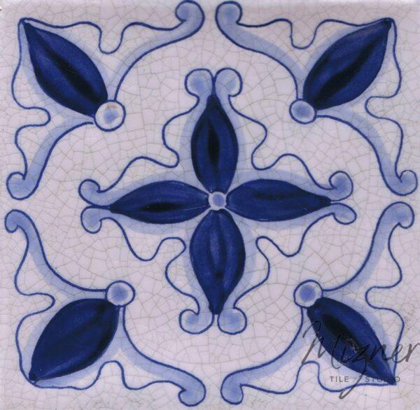 Hand Painted Tile 1-Single Tile - Style HP-565 from Mizner Tile Studio