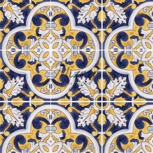 Hand Painted Tile 4-Tile Pattern - Portuguese Style HP-568 from Mizner Tile Studio