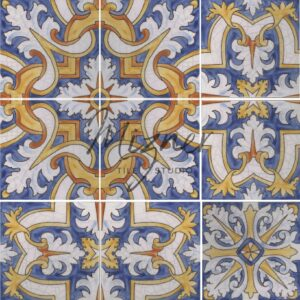 Hand Painted Tile 9-Tile Pattern - Portuguese Style HP-570 from Mizner Tile Studio