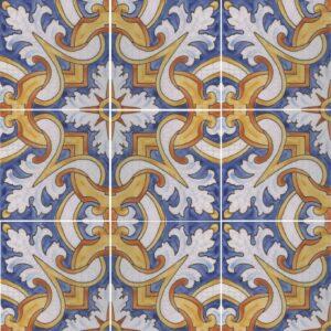 Hand Painted Tile 9-Tile Pattern - Portuguese Style HP-571 from Mizner Tile Studio