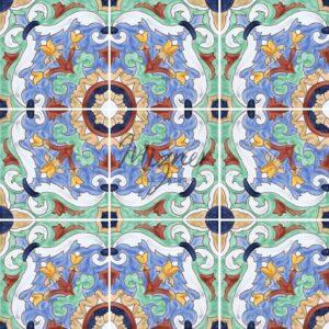 HP-600 Hand Painted Tile Dutch-Mizner Style by Mizner Tile Studio - Multiple Tile View