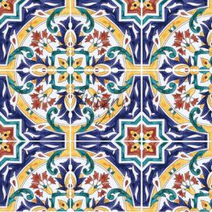 HP-603 Hand Painted Tile Dutch-Mizner Style by Mizner Tile Studio - Multiple Tile View