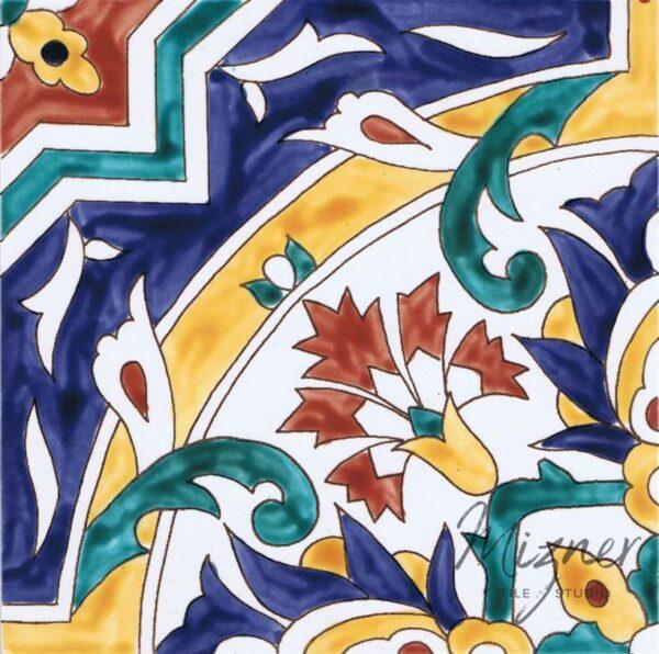 HP-603 Hand Painted Tile Dutch-Mizner Style by Mizner Tile Studio - Single Tile View