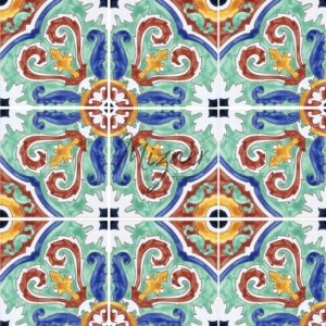 HP-605 Hand Painted Tile Dutch-Mizner Style by Mizner Tile Studio - Multiple Tile View