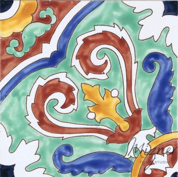 HP-605 Hand Painted Tile Dutch-Mizner Style by Mizner Tile Studio - Single Tile View