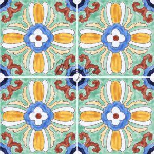 HP-607 Hand Painted Tile Dutch-Mizner Style by Mizner Tile Studio - Multiple Tile View