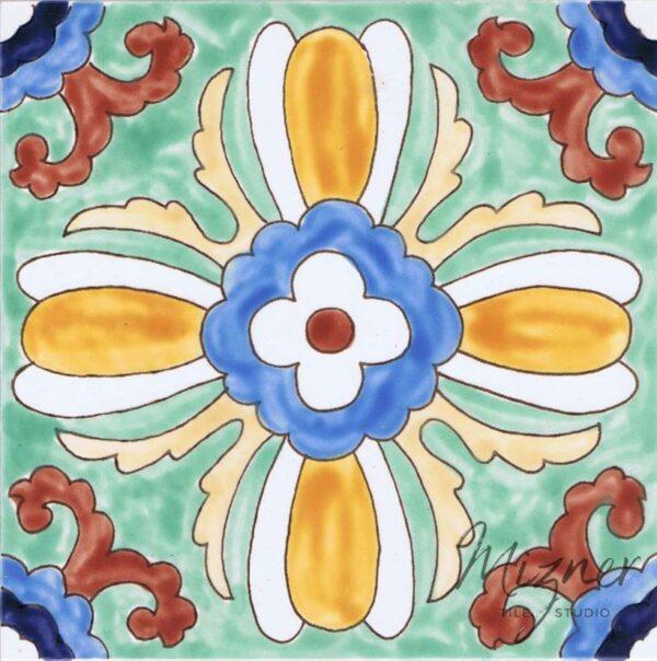 HP-607 Hand Painted Tile Dutch-Mizner Style by Mizner Tile Studio - Single Tile View
