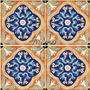 HP-701 Hand Painted Tile Dutch-Mizner Style by Mizner Tile Studio - Multiple Tile View