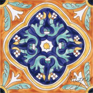 HP-701 Hand Painted Tile Dutch-Mizner Style by Mizner Tile Studio - Single Tile View