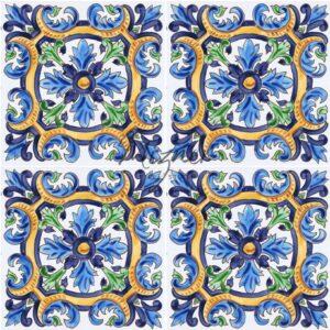 HP-702 Hand Painted Tile Dutch-Mizner Style by Mizner Tile Studio - Multiple Tile View
