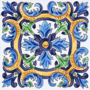 HP-702 Hand Painted Tile Dutch-Mizner Style by Mizner Tile Studio - Single Tile View