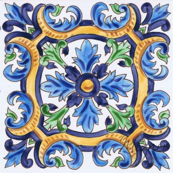 HP-702 Hand Painted Tile Dutch-Mizner Style by Mizner Tile Studio - Single Tile View