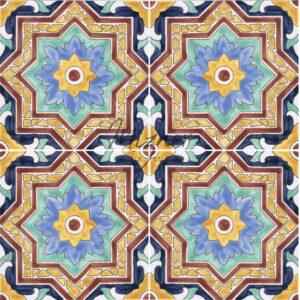 HP-726 Hand Painted Tile Dutch-Mizner Style by Mizner Tile Studio - Multiple Tile View