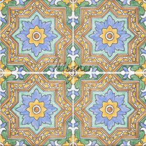 HP-726B Hand Painted Tile Dutch-Mizner Style by Mizner Tile Studio - Multiple Tile View