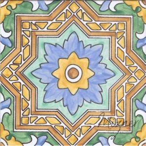 HP-726B Hand Painted Tile Dutch-Mizner Style by Mizner Tile Studio - Single Tile View