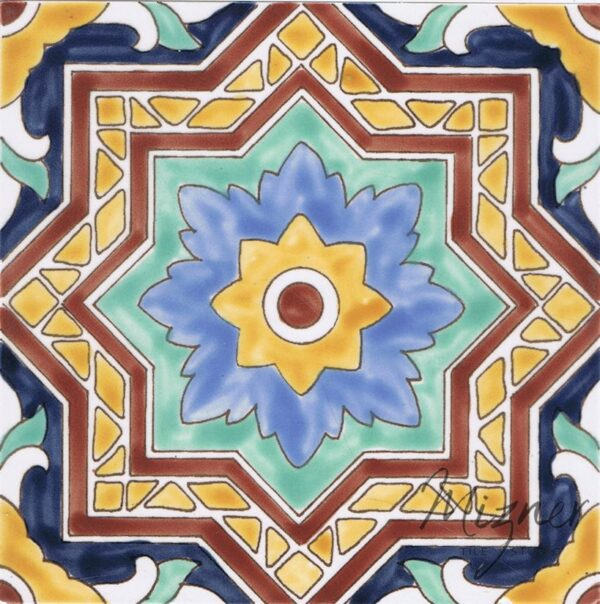 HP-726 Hand Painted Tile Dutch-Mizner Style by Mizner Tile Studio - Single Tile View