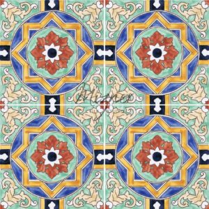 HP-728 Hand Painted Tile Dutch-Mizner Style by Mizner Tile Studio - Multiple Tile View