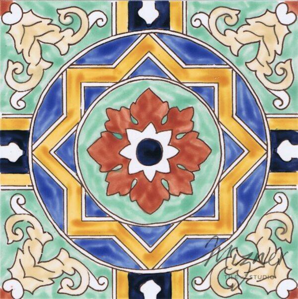 HP-728 Hand Painted Tile Dutch-Mizner Style by Mizner Tile Studio - Single Tile View