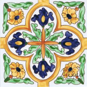 Hand Painted Tile 1-Single Tile - Style HP-733 from Mizner Tile Studio