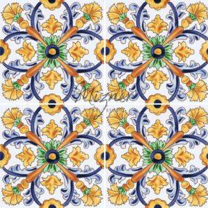 Hand Painted Tile 4-Tile Pattern - Style HP-740 from Mizner Tile Studio