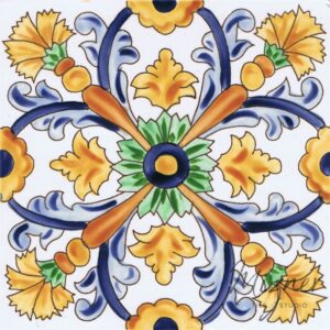 Hand Painted Tile 1-Single Tile - Style HP-740 from Mizner Tile Studio