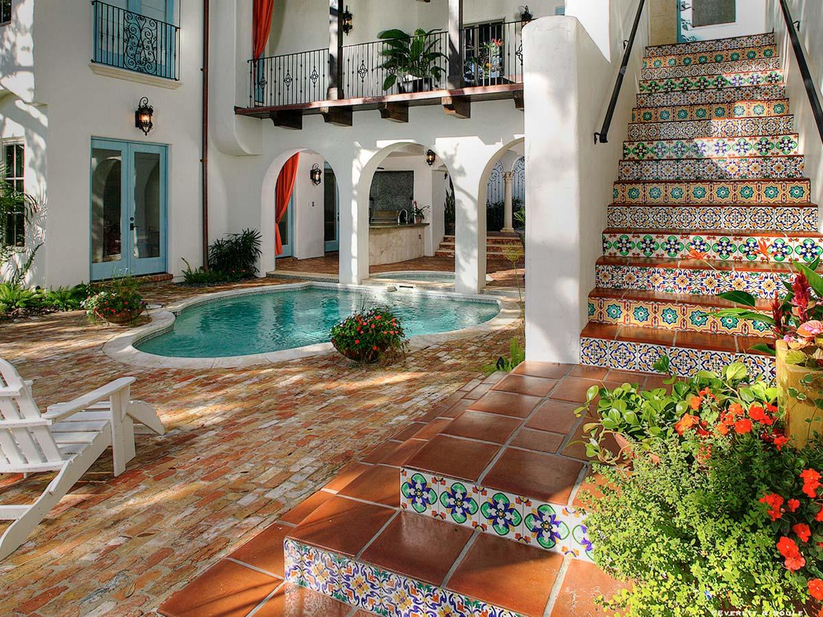 Hand painted tiles custom stairway