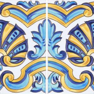 Hand Painted Tile design with 2 tiles - Mizner Tile Studio