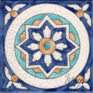 HP-558 Hand Painted Tile Dutch-Mizner Style by Mizner Tile Studio - Single Tile View
