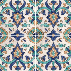 HP-560 Hand Painted Tile Dutch-Mizner Style by Mizner Tile Studio - Multiple Tile View