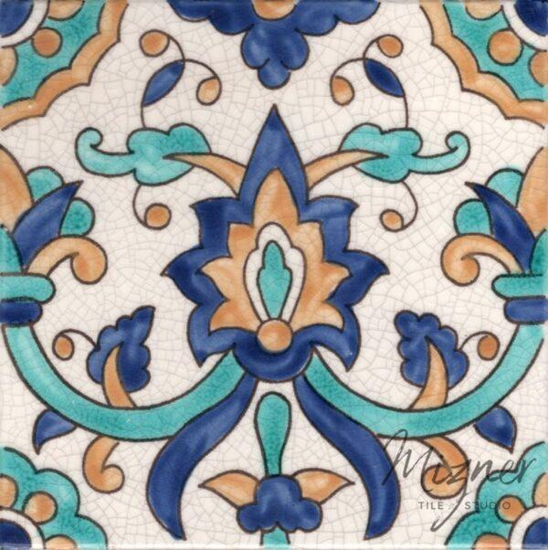 HP-560 Hand Painted Tile Dutch-Mizner Style by Mizner Tile Studio - Single Tile View