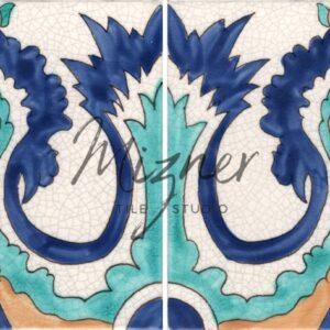 HP-561 Hand Painted Tile Dutch-Mizner Style by Mizner Tile Studio - Multiple Tile View