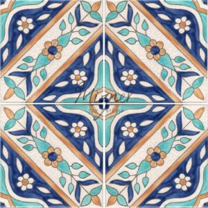 HP-562 Hand Painted Tile Dutch-Mizner Style by Mizner Tile Studio - Multiple Tile View