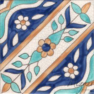 HP-562 Hand Painted Tile Dutch-Mizner Style by Mizner Tile Studio - Single Tile View