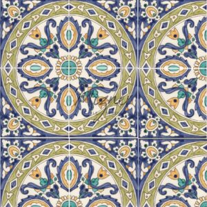 HP-602 Hand Painted Tile Dutch-Mizner Style by Mizner Tile Studio - Multiple Tile View