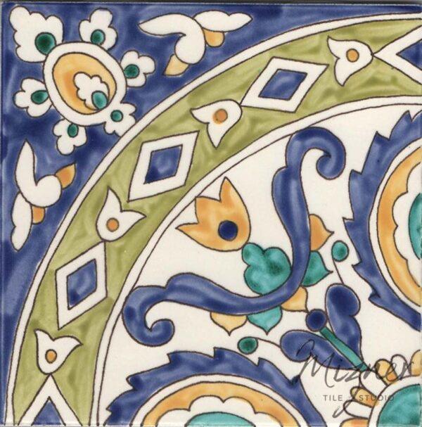 HP-602 Hand Painted Tile Dutch-Mizner Style by Mizner Tile Studio - Single Tile View