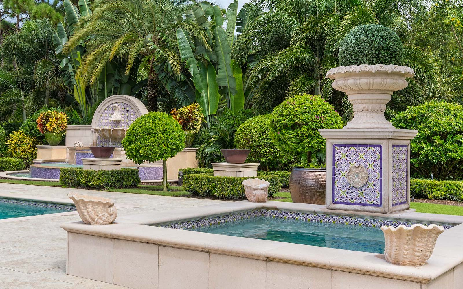 Mizner Tile Studio custom hand painted pool waterline tiles
