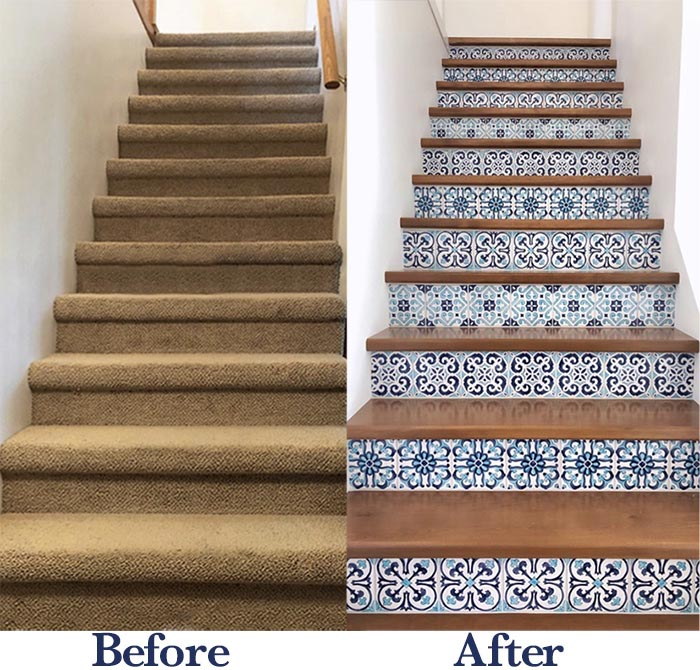 Tile Stair Risers Before and After