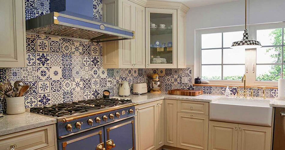 Custom Blue Tile Kitchen backsplash.