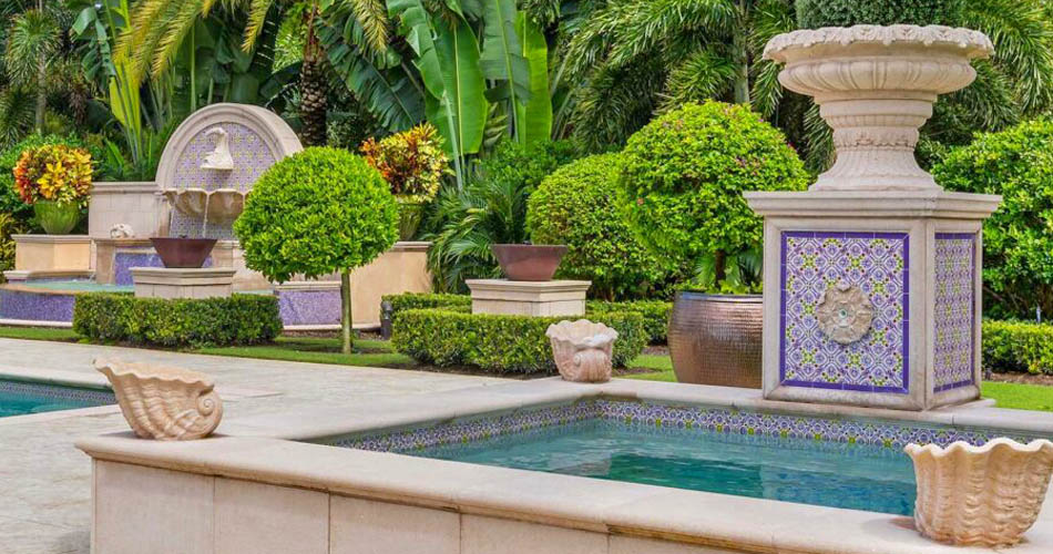 Custom Pool Tiles on an elegant pool and hot tub.