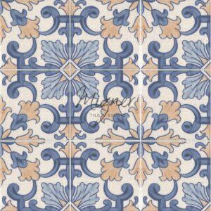 Hand Painted Tile 4-Tile Pattern - Portuguese Style HP-563 from Mizner Tile Studio