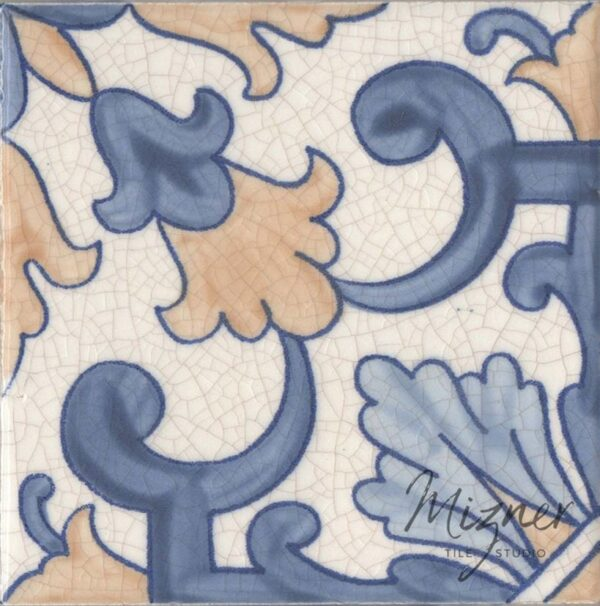 Hand Painted Tile 1-Single Tile - Portuguese Style HP-563 from Mizner Tile Studio