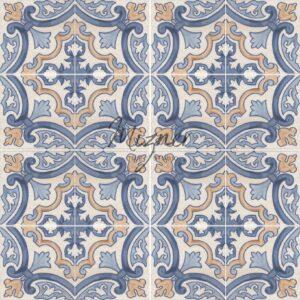 Hand Painted Tile 4-Tile Pattern - Portuguese Style HP-564 from Mizner Tile Studio