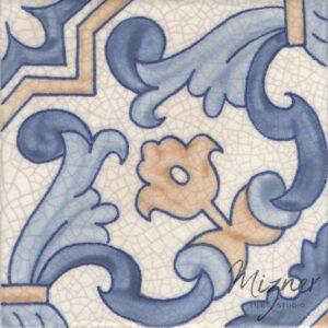 Hand Painted Tile 1-Single Tile - Portuguese Style HP-566 from Mizner Tile Studio