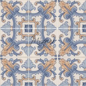 Hand Painted Tile 4-Tile Pattern - Portuguese Style HP-567 from Mizner Tile Studio
