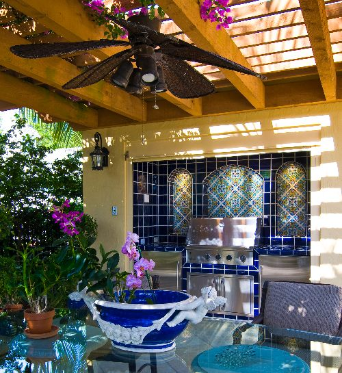 Waterline Tile Outdoor Grill coordinates with pool